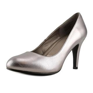 Easy Spirit Round Toe Mid Women W Round Toe Leather Gray Heels