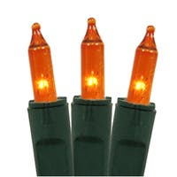 Set of 50 Orange Perm-O-Snap Mini Christmas Lights - Green Wire