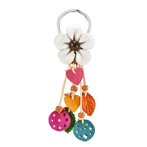 Handmade Boho Chic Red Floral Garden Leather and Beads Bag Ornament Keychain (Thailand)