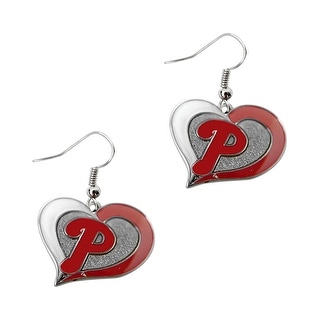 MLB Philadelphia Phillies Swirl Heart Shape Dangle logo Earring Set Charm Gift