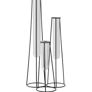 Urban Trends Metal Bud Vase Holder with Hanging Glass Tube Vases on Round Stand, Coated Finish - Black