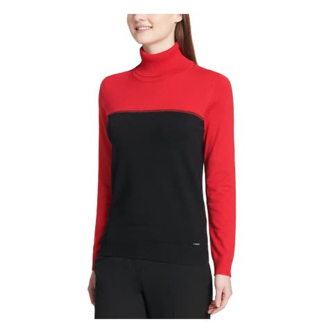 CALVIN KLEIN Womens Black Color Block Long Sleeve Sweater Size L