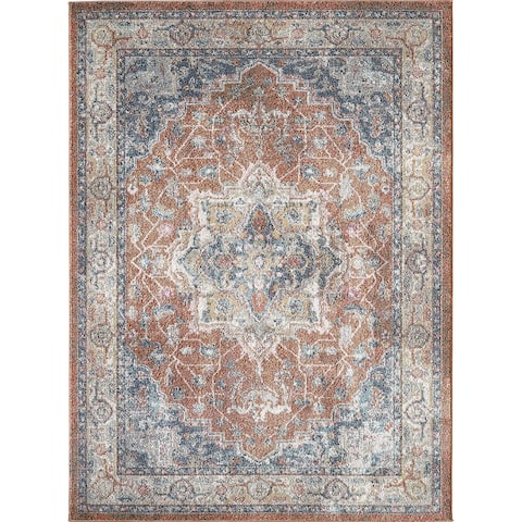 Saxby Rust and Navy Woven Area Rug