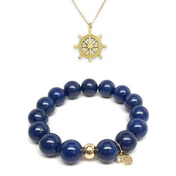 "Blue Jade 7"" Bracelet & Wheel Gold Charm Necklace Set"