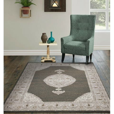 Copper Grove Siuntio Distressed Dark Grey and Ivory Floral Area Rug