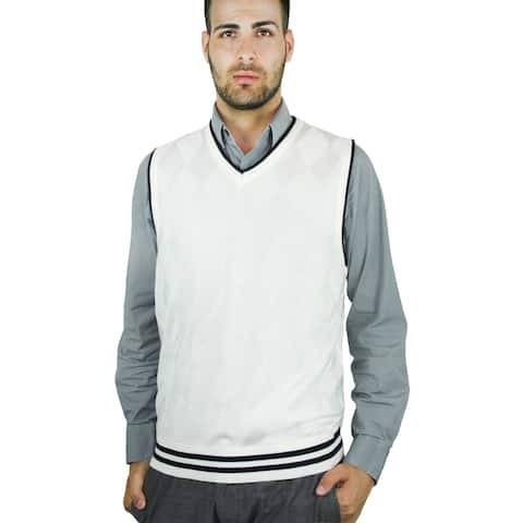 Men's Contrast Argyle Sweater Vest (SV-268)