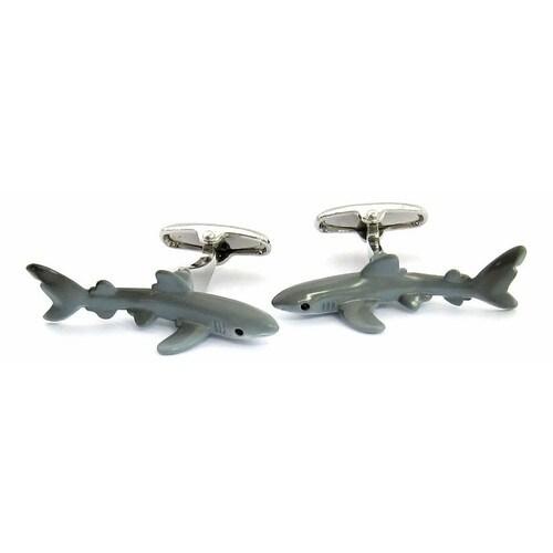 Hand-Painted Shark Cufflinks Animal