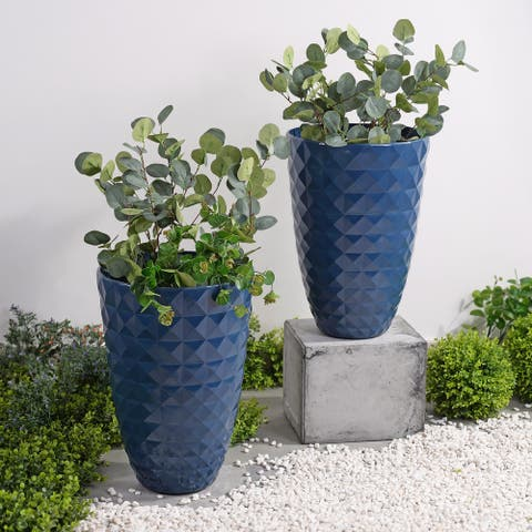Lily 2 Piece Round Planter Set - Blue