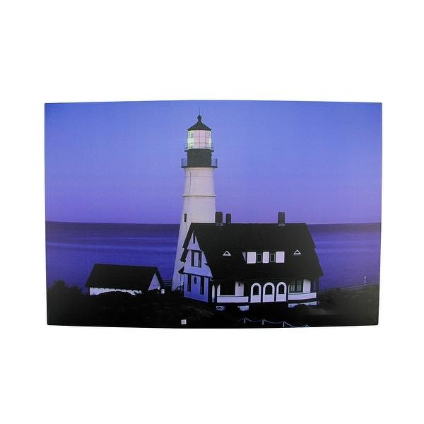 "LED Lighted Dusk Lighthouse Seaside Scene Canvas Wall Art 15.75"" x 23.75"""
