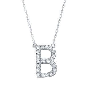 Smiling Rocks 0 28Ct G H VS1 Lab Grown Diamond Alphabet Letter B Necklace