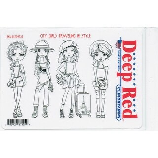 Deep Red Stamps City Girls Traveling in Style Rubber Cling Stamps - 4 x 6