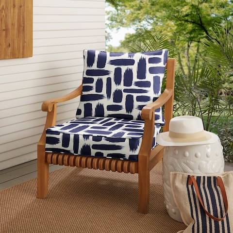 Blue Graphic Indoor/ Outdoor Deep Seating Pillow and Cushion Set