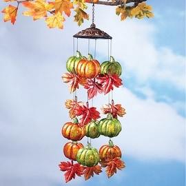 Metallic Autumn Leaves and Pumpkins Windchime