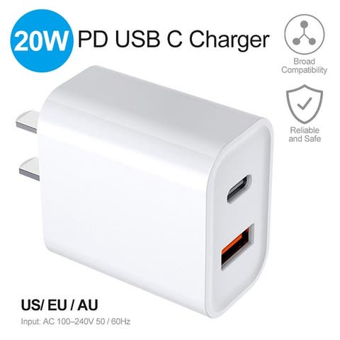 20W Power Charger PD USB C Charger Fast Charging for iPhone 12 /11/11 Pro /11 Pro Max / XS/XS Max /XR /X /8/8 Plus iPad Pro