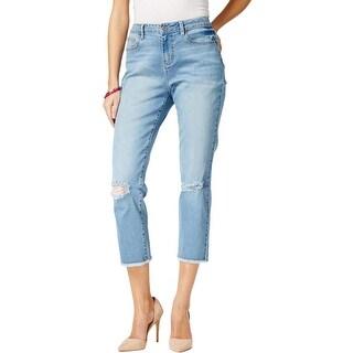Earl Jean Womens Cropped Jeans Denim Light Wash