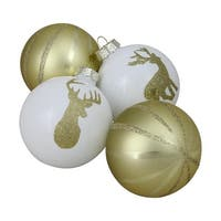 "4ct Champagne Gold and White Striped Deer Christmas Glass Ball Ornaments 4.5"" (100 mm)"