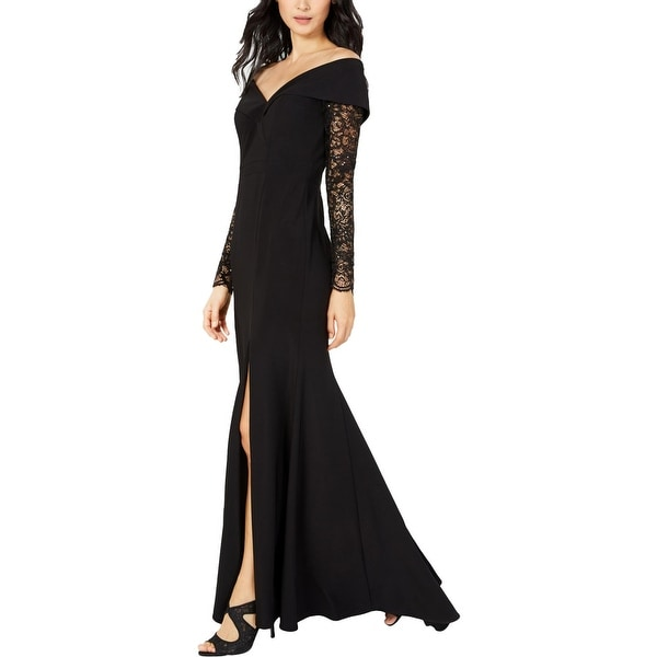 Xscape Womens Formal Dress Lace Sleeves Off-The-Shoulder - Black. Opens flyout.