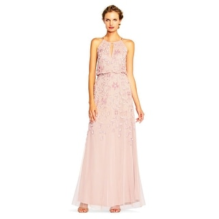 Adrianna Papell Women's Floral Beaded Blouson Halter Gown, Blush, 4