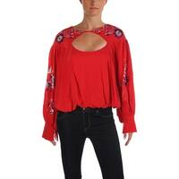 Free People Womens Blouse Embroidered Floral Pattern