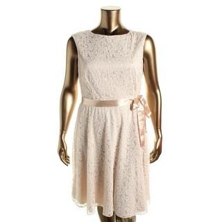 Tahari ASL Womens Linda Ribbon Glitter Casual Dress