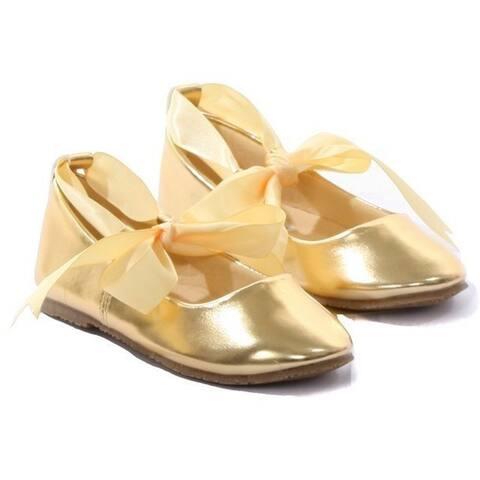 Kids Dream Gold Ballerina Ribbon Tie Rubber Shoe Baby Girl 3-10