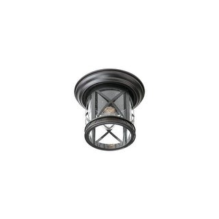 """Trans Globe Lighting 5128 Chandler 1-Light 10"""" Wide Outdoor Flush Mount Lantern Ceiling Fixture with Seedy Glass Shade"""