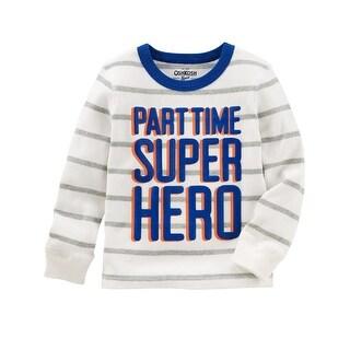 OshKosh B'gosh Little Boys' Super Hero Thermal Tee, 5-Toddler - White