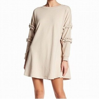 Solutions. Beige Women's Size Medium M Swing Ruched Sweater Dress