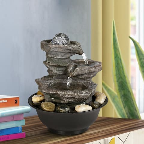 4-Tier Tabletop Water Fountain with Illuminated Crystal Ball Accent