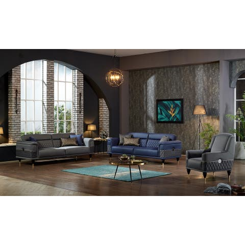 DiscountWorld Tulliso Living Room Set (Two 3 Seat Sofas And Two Chairs) (3-3-1-1)