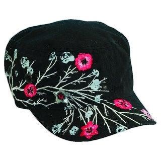 Dorfman Pacific Women's Cotton Military Summer Fashion Cadet Hat - Black - One Size