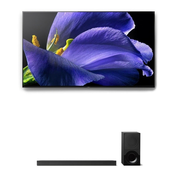 """Sony XBR-55A9G 55"""" BRAVIA OLED 4K UHD HDR TV and HT-X9000F 2.1-Channel Dolby Atmos Sound Bar with Subwoofer"""