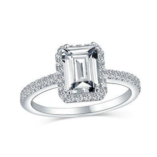 Link to 2 CT Emerald Cut Thin Band Halo CZ 925 Sterling Silver Engagement Ring Similar Items in Rings