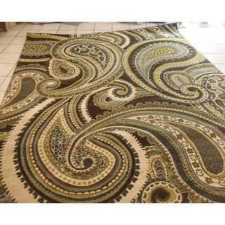 """Contemporary Brown/Green Paisley Floral Folkestone Area Rug - 7'10"""" x 10'6"""""""