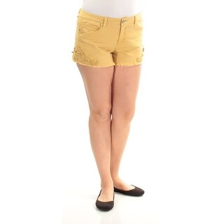 VANILLA STAR Womens Yellow Embroidered Cropped Short Juniors Size: 13