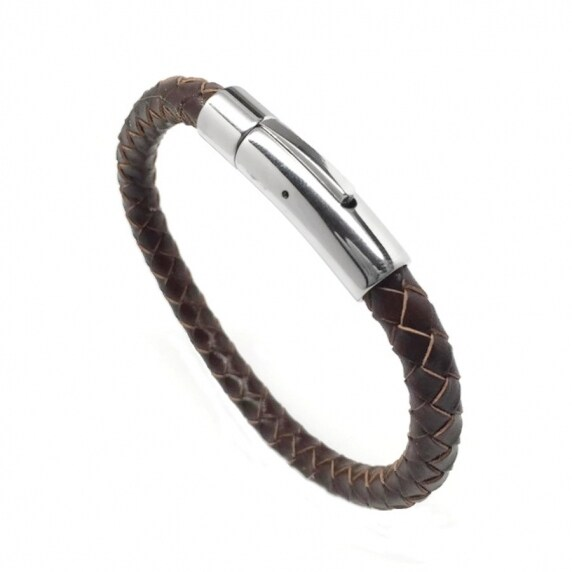 Loralyn Designs Unisex Mens Womens Brown Leather Bracelet Braided Stainless Steel Locking Clasp (7 -