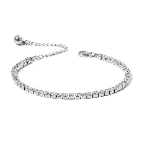 Cubic Zirconia Tennis Elegant Bracelet in Stainless Steel 6.50 inch - Bracelet 6.5''