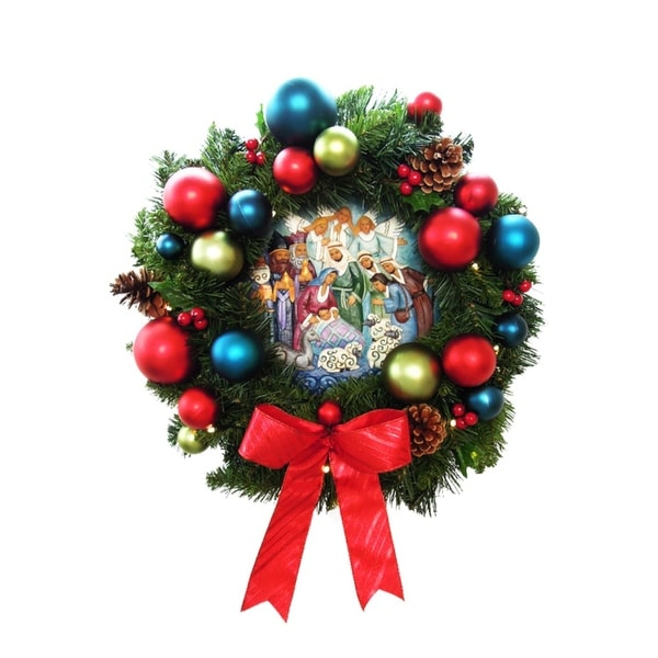 """24"""" Pre-Decorated LED Lighted Christmas Wreath with Nativity Center - Clear - green"""