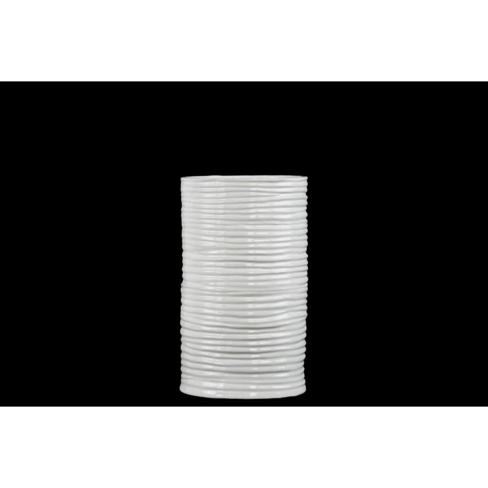 Cylindrical Ceramic Vase With Ribbed Pattern, Medium, White