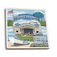 Sea Isle City, NJ - Montage - LP Artwork (Set of 4 Ceramic Coasters)