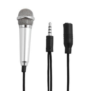 Mini Portable 3.5mm Microphone Mic Silver Tone for Mobile Phone Laptop Karaoke