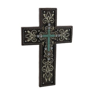 Brown Stitched Leather Look Wall Cross with Studs and Rhinestones