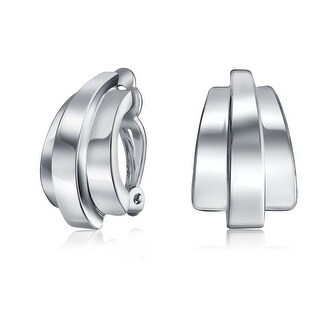 Bling Jewelry Rhodium Plated Polished Linear Half Hoop Clip On Earrings