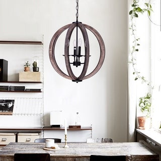 21-inch Distressed Weathered Oak 4-Light Wood Orb Chandelier