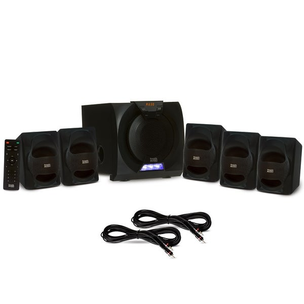 Acoustic Audio AA5230 Home 5.1 Bluetooth Speaker System with LED & 2 Ext. Cables