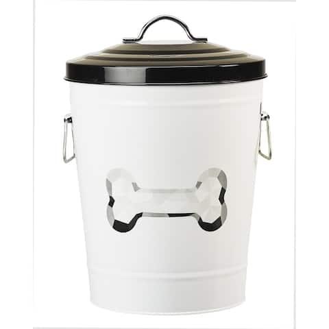 Amici Pet Food Safe Metal Storage Canister With Lid & Handle for Pet Food, Zentangle Dog Bone Design - Black/White - Black White