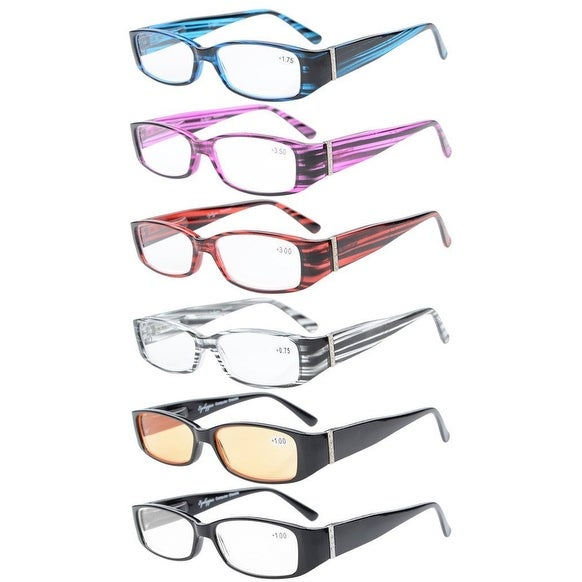 6-Pack Spring Temple Readers Include Reading Glasses with Genuine Austrian Crystals Women +3.0