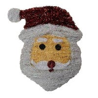 "18"" Shiny and Iridescent Santa Claus Face Hanging Christmas Decoration"