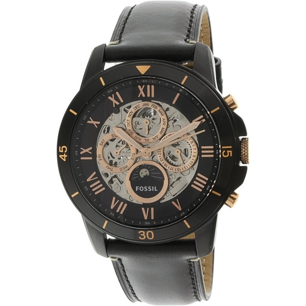 0c3556762 Shop Fossil Men's Grant Sport Black Leather Automatic Fashion Watch - Free  Shipping Today - Overstock - 18914608