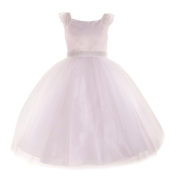 6d182123e Shop Big Girls White Lace Cap Sleeved Junior Bridesmaid Dress - Free ...